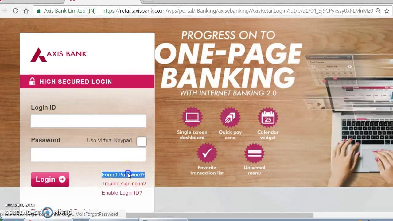How To Change Axis Bank Net Banking login ID/User ID