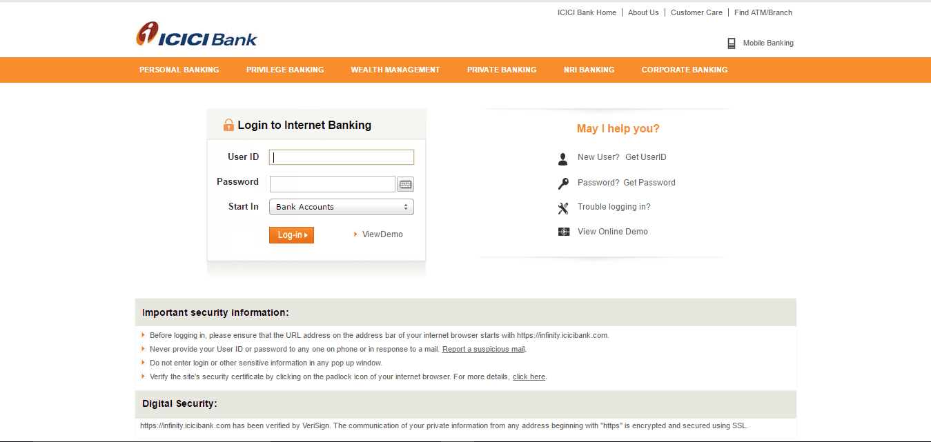 icici internet banking sign up