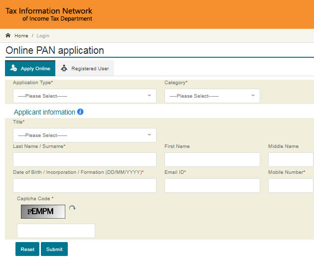 apply for a Pan Card Online