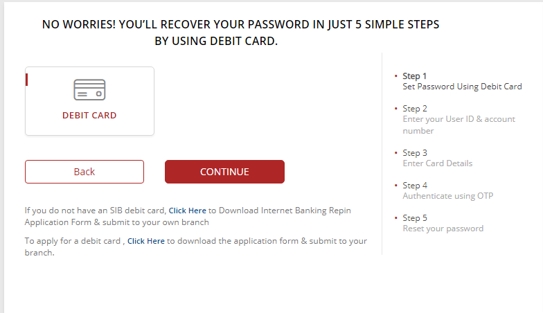 South Indian Bank net Banking password