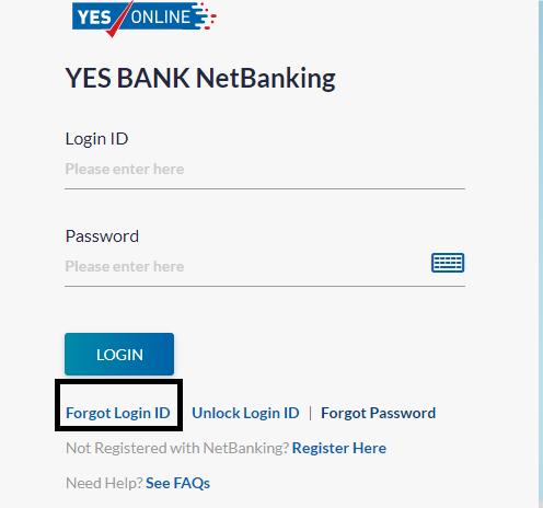 YES Bank net Banking login id