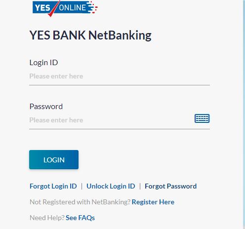 YES Bank Internet Banking Login page