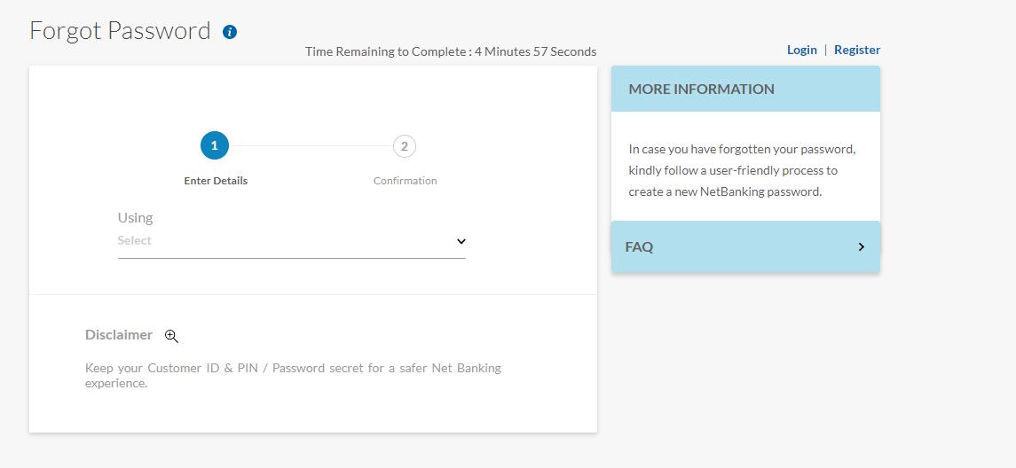 YES Bank Internet Banking password