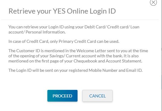 YES Bank Internet Banking login id