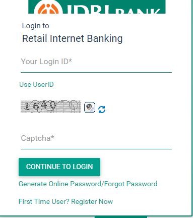 IDBI Internet Banking login