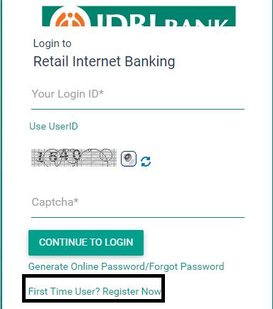 IDBI Internet Banking new user