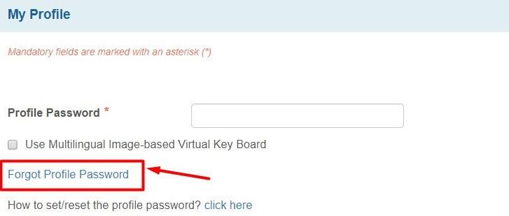Forgot SBI profile password