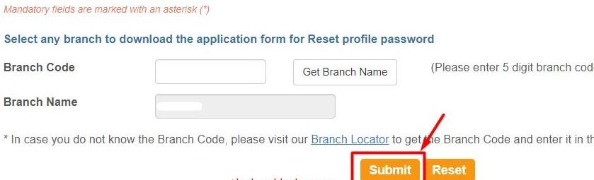 Reset SBI profile password